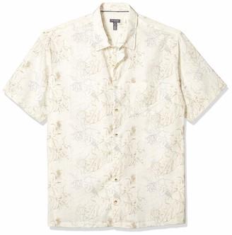 Van Heusen Men's Big and Tall Air Tropical Short Sleeve Button Down Poly Rayon Shirt