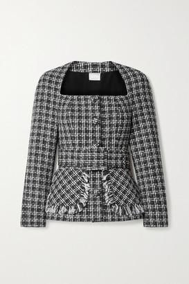 Huishan Zhang Cindy Belted Fringed Tweed Jacket - Black