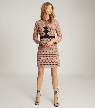 Reiss LENNY LACE MINI DRESS Pink
