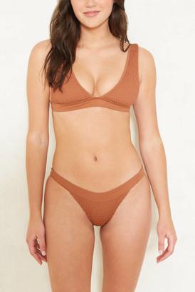 Tori Praver Bronze Dylan Smocked Bikini Bottom Bronze M