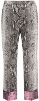 No.21 Snakeskin Effect Cropped Trousers