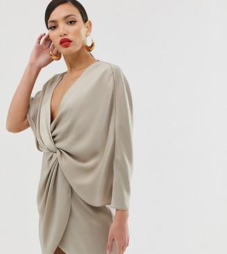 Asos Tall ASOS DESIGN Tall mini dress in satin with asymmetric kimono sleeve