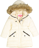 Catherine Malandrino Cream Woven Faux Fur Hooded Puffer Jacket - Toddler & Girls