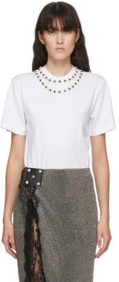 Christopher Kane White Flower Crystal T-Shirt