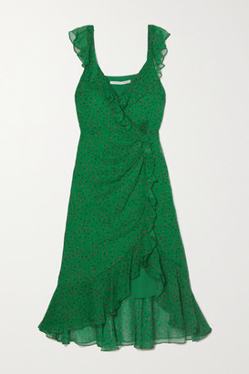 Veronica Beard Amal Ruffled Floral-print Silk-chiffon Midi Dress - Green