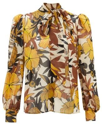 Dundas Pussy-bow Floral-print Silk Blouse - Womens - Yellow Print
