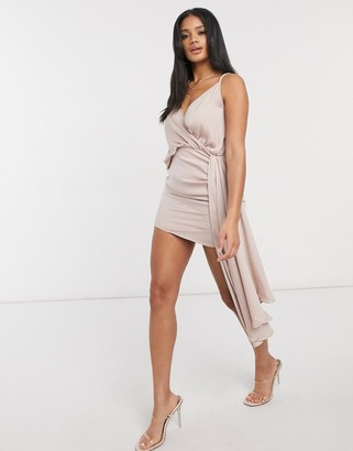 I SAW IT FIRST asymmetric satin drape dress in pink