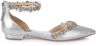 Badgley Mischka Vivien Metallic Bejeweled Flats