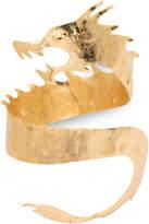 Josie Natori Hammered Brass Dragon Cuff Bracelet
