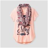 Self Esteem Girls' Short Sleeve Scarf Top - Peach Melba