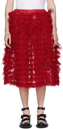 Comme des Garcons Red Tulle Ruffle Skirt