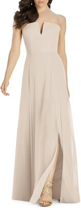 Dessy Collection Strapless Chiffon A-Line Gown