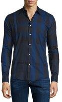 Burberry Southbrook Check Long-Sleeve Sport Shirt, Navy