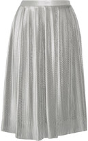 ADAM by Adam Lippes Plissé silk-blend lamé skirt