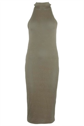 Oops Womens High Halter Neck Bodycon Sleeveless Backless Stretchy Midi Dress Wine