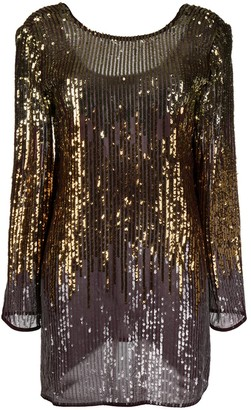 Rixo Sequinned Long-Sleeve Mini Dress