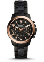 Fossil Gwynn Chronograph Black Stainless Steel and Glitter Acetate Watch