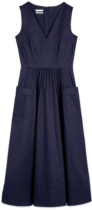 Co Sleeveless Trapunto Hem Dress in Navy