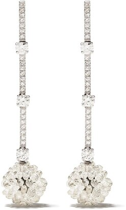 David Morris 18kt white gold diamond Briolette pendant earrings