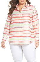 Foxcroft Plus Size Women's Satin Stripe Shirt