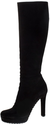 Gucci Black Suede Platform Knee High Boots Size 37.5