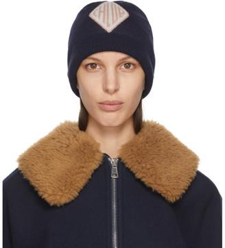 Chloé Navy Wool Jacquard Monogramme Beanie