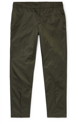 Prada Grey Slim-Fit Cropped Logo-Appliqued Nylon-Gabardine Trousers