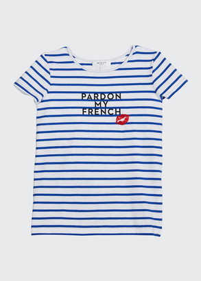 Milly Girl's Pardon My French Striped Graphic T-Shirt, Size 7-16