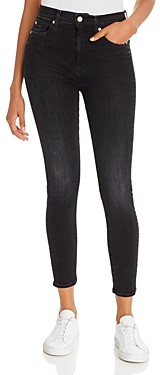 7 For All Mankind High-Waist Ankle Skinny Jeans in Dark Ash