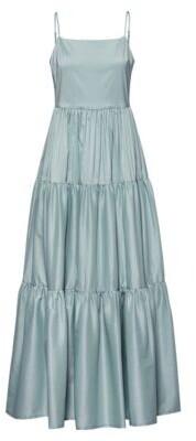 HUGO BOSS - Tiered Maxi Dress In A Paper Touch Cotton Blend - Light Green