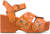 Marc Jacobs Wildflower wedge sandals - women - Leather/rubber - 37