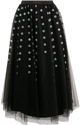 RED Valentino Floral Bead Tulle Midi Skirt