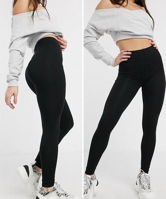 ASOS DESIGN 2 pack high waisted leggings in black SAVE