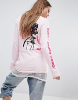 Obey Oversized Long Sleeve Skate Top With Roaring Roses Graphic
