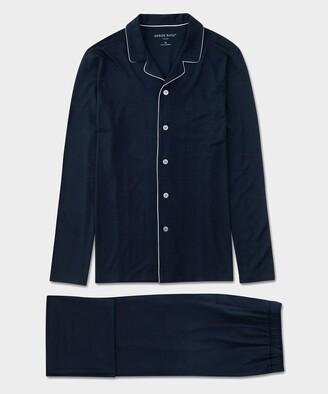 Derek Rose Men's Modern Fit Jersey Pajamas in Navy