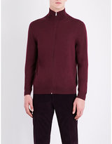 Paul Smith Blue Woven Exposed Zip Cardigan