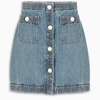 Miu Miu Pearl-embellished denim skirt