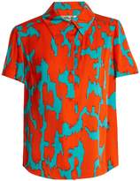 Diane von Furstenberg Short-sleeved Eylan-print stretch-silk shirt