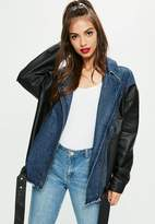 Missguided Tall Navy Denim&Faux Leather Jacket, Blue