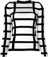 Balmain grid print top - women - Spandex/Elastane/Viscose - 36