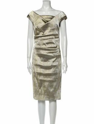 Talbot Runhof Square Neckline Knee-Length Dress Gold