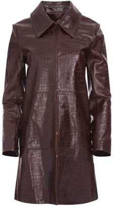 Alice + Olivia Croc-Embossed Leather Coat