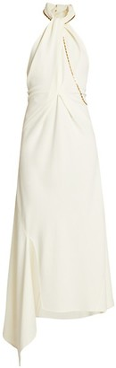 Victoria Beckham Halter Chain Asymmetric Midi Dress