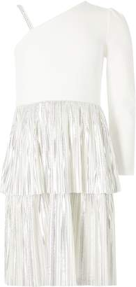 River Island Girls White one shoulder tiered frill dress