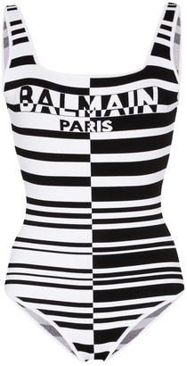 Balmain Striped Logo Bodysuit