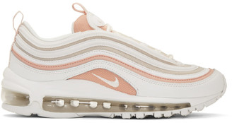 Nike White and Beige Air Max 97 Sneakers