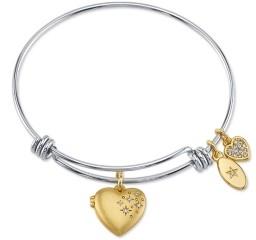 Unwritten Fine Silver Plated Satin Heart Locket Adjustable Bangle Bracelet