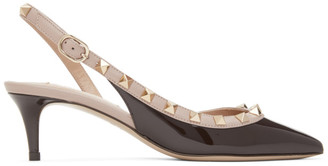 Valentino Brown and Pink Garavani Rockstud Slingback Heels