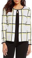 Ming Wang Jewel Neck Embroidered Jacket