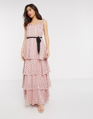 Vila maxi dress with tie waist and tiered skirt in pink polka dot